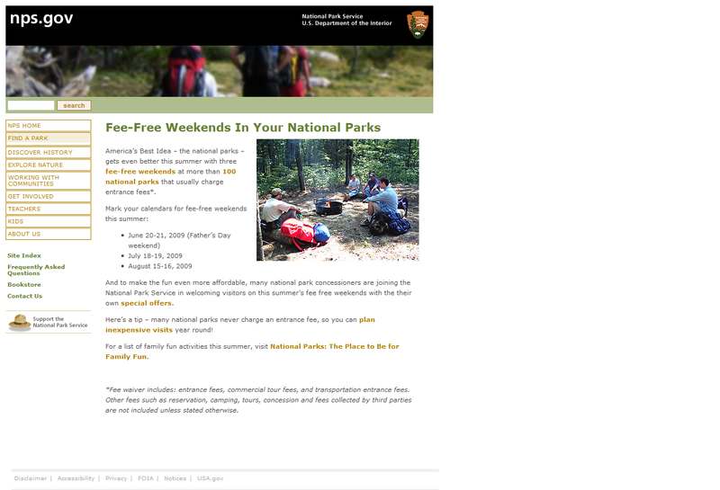National Park Service Free Summer Weekends