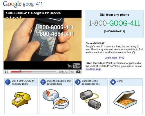 Goog411, free directory assistance by business name or category