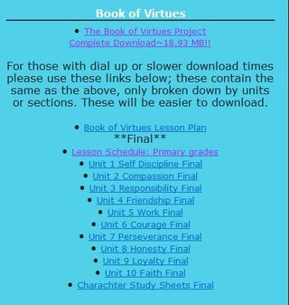 Book of Virtues free unit study and lapbook