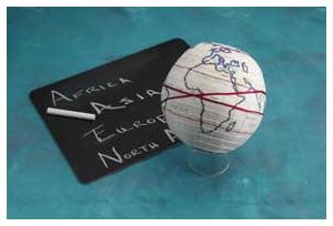 Embroider a globe for geography class