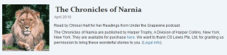 free chronicles of narnia series audio readings