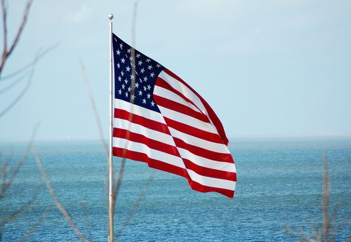 American Flag Over Mobile Bay