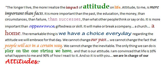 "Charles R. Swindoll : ""The longer I live, the more I realize the impact of attitude on life. Attitude, to me, is more important than facts. It is more important than the past, the education, the money, than circumstances, than failure, than successes, than what other people think or say or do. It is more important than appearance, giftedness or skill. It will make or break a company... a church... a home. The remarkable thing is we have a choice everyday regarding the attitude we will embrace for that day. We cannot change our past... we cannot change the fact that people will act in a certain way. We cannot change the inevitable. The only thing we can do is play on the one string we have, and that is our attitude. I am convinced that life is 10% what happens to me and 90% of how I react to it. And so it is with you... we are in charge of our Attitudes."""
